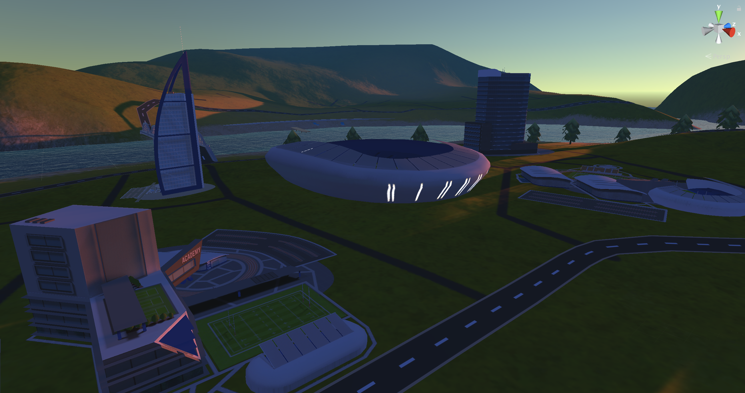 Sunset shot of the club grounds. (Work in progress)