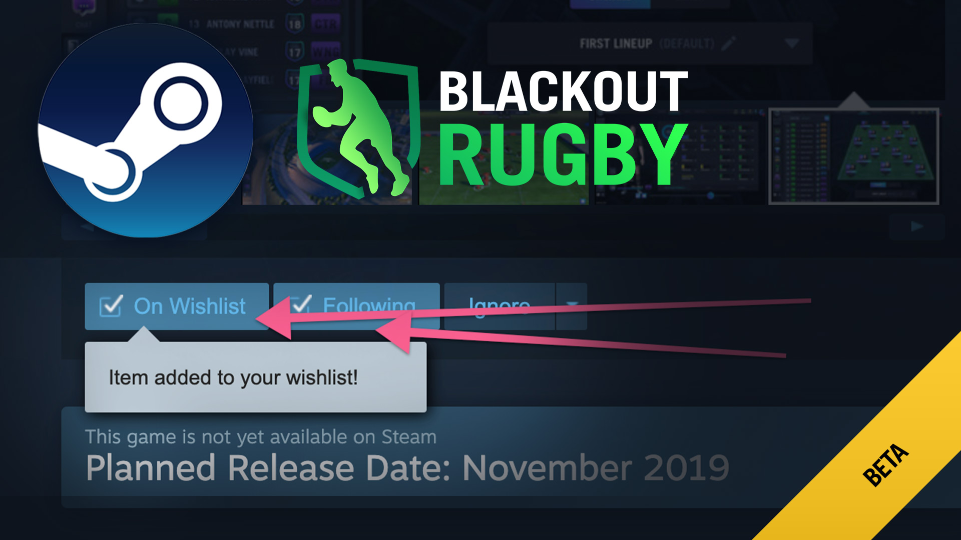 Blackout Rugby Page now on Steam